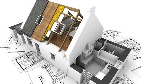 model van huis met bouwtekening